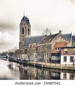 OUDEWATER, NETHERLANDS - MARCH 30: Old church on march 30, 2013 in Oudewater, Netherlands.  The town was granted city rights in 1265 by Hendrik van Vianden, the bishop of Utrecht.