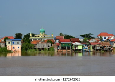 Oudong; Kingdom of Cambodia - august 21 2018 : riverside view from a boat