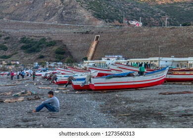 Oued Laou, Chefchaouen, Morocco - November 3, 2018: Fishing is the main livelihood in Oued Laou, a small fishing village on the Mediterranean coast of the province of Chefchaouen, Northern Morocco.