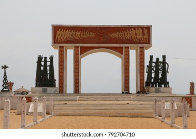 Ouidah Benin February 8 2014 Gate of no return Memory to all the people brought as slaves to the Americas Artwork by Dominique Kouas