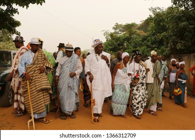Ouidah, Benin - January 10 2015 Voodoo festival the cradle of voodoo and is a registrated religion in Benin. The festival takes place every year on 10 January in many cities in Benin and Togo.