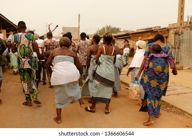 Ouidah, Benin January 10 2015 Voodoo festival Procession in the city