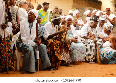 Ouidah, Benin January 10 2015 Voodoo festival people watching the voodoo procession
