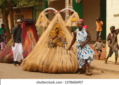 Ouidah, Benin January 10 2015 Voodoo festival, the name of this spirit is Zangbeto the watcher of the night. It protects cities against criminals like thiefs.