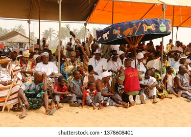 Ouidah, Benin January 10 2015 People at the voodoo festival joining the activities
