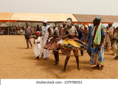 Ouidah, Benin January 10 2015 Voodoo festival an annual event with many people from all over the country, people dancing, singing and enjoying
