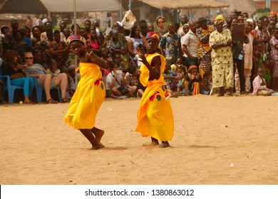 Ouidah, Benin January 10 2015 Children are singing and dancing at the voodoo festival at the beach