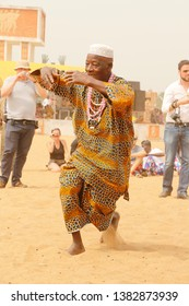 Ouidah, Benin January 10 2015 Voodoo festival, a man dances at the music