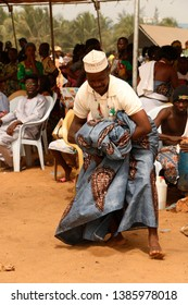 Ouidah, Benin January 10 2015 Voodoo festival A man is dancing to the ritual music