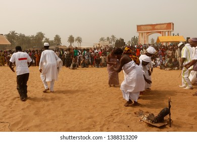 Ouidah, Benin January 10 2015 Voodoo festival Dancing at the ritual music for the gods