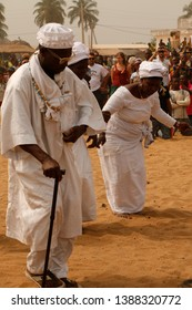 Ouidah, Benin January 10 2015 Voodoo festival A ritual at the beach People in white clothes take part of the voodoo community