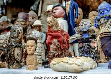 Ouidah, Benin - June 24, 2018: Different Toys on the Local Fetish Market