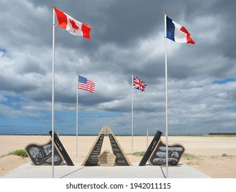 Ouistreham, Low Normandy, France - 29.06.2020: A memorial for the 70th anniversary of the D-Day landings located on Sword Beach Plage Riva Bella