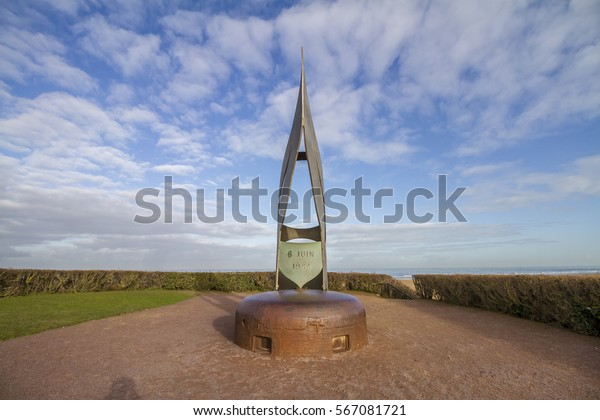 Ouistreham, Normandy, France - 02 September 2016: The Keiffer Flame Monument at Sword beach