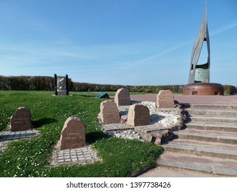 Ouistreham Normandy France March 28 2017. The Kieffer Monument, La Flame, housed on top of a German bunker at Sword Beach Normandy, commemorating the Commandos who landed here on D-Day June 6th 1944.