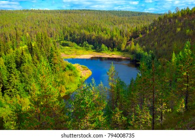 Oulanka river in mountain valley at the end of northern summer.