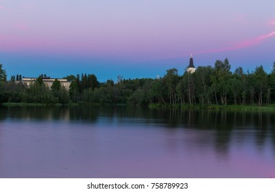 Oulu city in the sunset