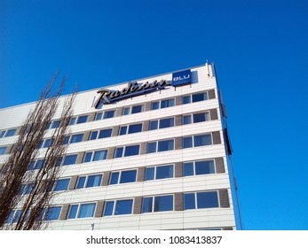OULU, FINLAND - APRIL 9, 2018: Facade of the Radisson Blu Hotel in Oulu.  The hotel is operated by the Carlson Rezidor Hotel Group.