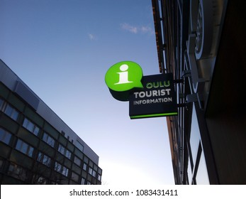 OULU, FINLAND - APRIL 9, 2018: Street view of the Oulu Tourist Information Office sign. The Center offers practical advice and tips for Oulu visitors.