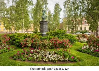 Oulu / Finland - July 08, 2018: Franzen Park (old Church Square) Near Oulu Cathedral.  Bust is Frans Michael Franzen - Oulu Poet.  Unvieled 1881.
