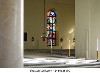 Oulu, Finland - July 11 2016: Stained glass windows in an Oulu church