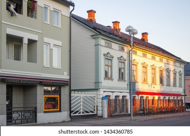 Oulu, Finland - July 12 2016: Chinese restaurant and residential houses in city center of Oulu