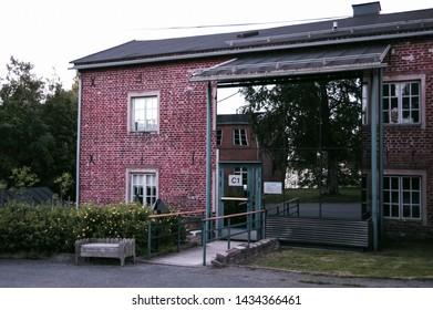 Oulu, Finland - July 12 2016: Modern rebuild old brick house in Oulu