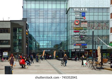 OULU, FINLAND - JULY 20, 2017: Square in front of  Valkea shopping centre
