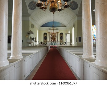 Oulu, Finland - July 26, 2018: Statues of the interior of the Cathedral of Oulu.