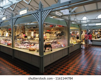 Oulu, Finland - July 26, 2018: Interior of the market hall in Oulu.