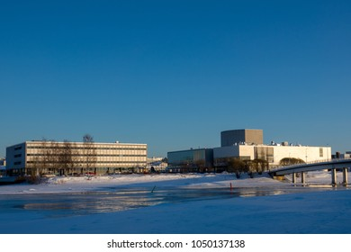 Oulu, Oulu / Finland March 16 2018: Library, Theathre and City of Oulu during sunset