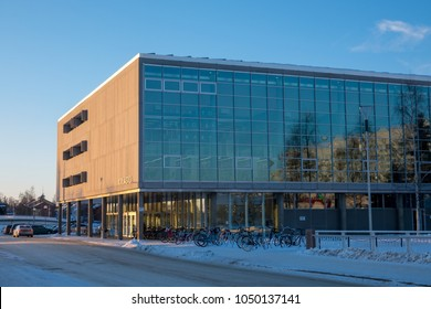 Oulu, Oulu / Finland March 16 2018: Library of Oulu during sunset