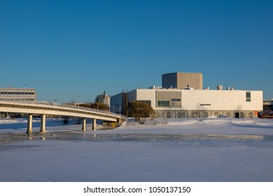 Oulu, Oulu / Finland March 16 2018: Library, Theatre and City of Oulu during sunset