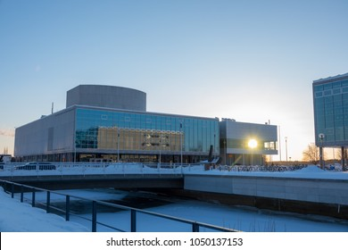 Oulu, Oulu / Finland March 16 2018: Theatre of Oulu during sunset