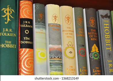 Oulu,Finland 4.13.2019 First edition Hobbit books.Valuable Hobbit books by J.R.R. Tolkien. Collectible books.There and back again. High value books