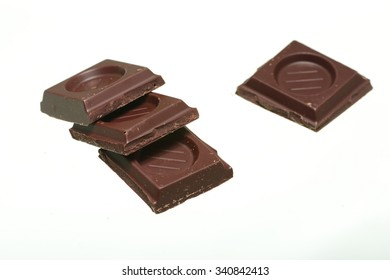 ounce of chocolate isolated on white background