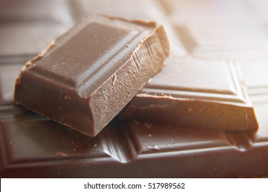 Ounces of dark chocolate on a chocolate bar..