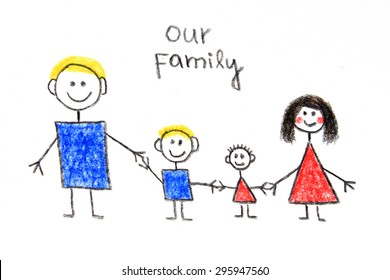 Our family - me, dad, mum and sister, colorful children drawing