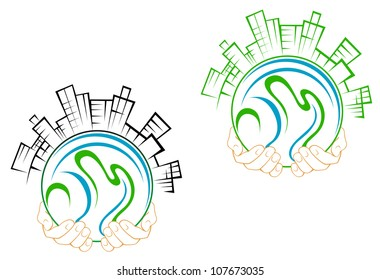 Our green earth planet with buildings in people hands for environment concept design. Vector version also available in gallery