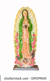 Our Lady Guadalupe statue with white background