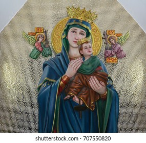 Our lady of perpetual help. Virgin Mary and child Jesus catholic statue