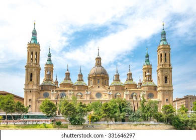 Our Lady of the Pillar Basilica with Ebro River Zaragoza, Spain