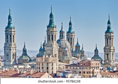 Our Lady of the Pillar Basilica as seen from San Pablo Church Tower at Zaragoza, Spain