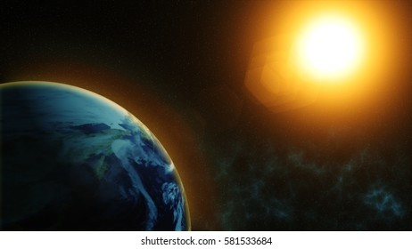 Our planet earth, the sun shines on the planet earth as seen from space.