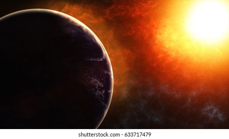 Our planet earth, the sun shines on the planet earth as seen from space. 3d illustrarion