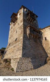 Ouranoupolis/Greece - July 19th 2018: Prosfori tower of Ouranoupolis