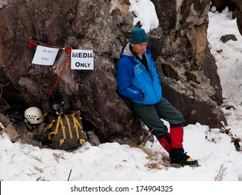 Ouray, Colorado-January 7, 2012: Annual Ice Festival with ice climbing competition.