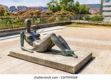 OURENSE, SPAIN - JUN 13, 2017: Bronze sculpture in Alameda Park