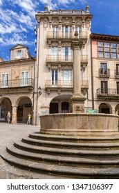 OURENSE, SPAIN - JUN 13, 2017: Fountain in the Plaza del Trigo
