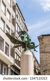 OURENSE, SPAIN - JUN 13, 2017: Bronze sculpture of a fairytale character